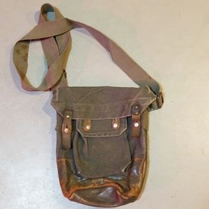 VINTAGE military ammunition bag canvas and leather